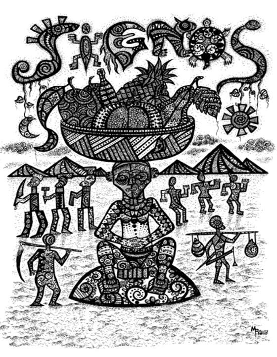 Cubierta de la revista Signos 73. Dibujo de Madai Rodríguez Borroto.